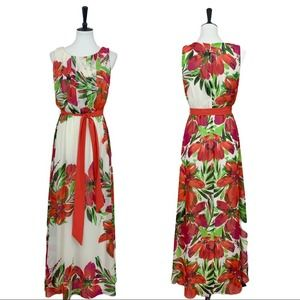 Eliza J. • Cream Red Floral Pleated Maxi Dress • 8